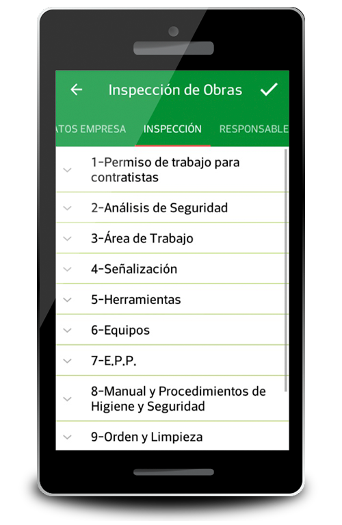 Pantalla de Categorias de Inspecciones de Safety Control by Safetynova